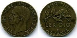 0,10 Lek Albanian Kingdom (1939-1943) Bronze/Aluminium Victor Emmanuel III of Italy (1869 - 1947)