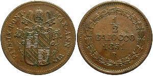 0.5 Baiocco Vatikan (1926-) Kupfer Pius IX (1792- 1878)