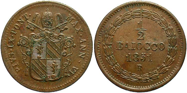 Moneta 0.5 Baiocco Vaticano (1926-) Rame 1851 Papa Pio IX ...