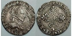 0.5 Franc France Silver Henry III of France (1551 - 1589)