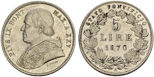 0 Zecchino 教皇国 (754 - 1870) 銀 Pope Pius IX (1792- 1878)
