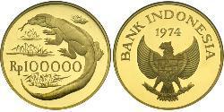 100000 Рупія Індонезія Золото