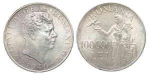 100000 Leu Reino de Rumanía (1881-1947) Plata Miguel I de Rumania