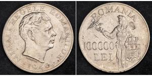 100000 Leu Königreich Rumänien (1881-1947) Silber Michael I. (Rumänien)