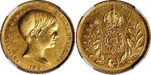 10000 Reis 巴西帝國 (1822 - 1889) 金 佩德罗二世 (巴西) (1825 - 1891)