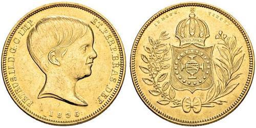 10000 Reis Empire du Brésil (1822-1889) Or Pierre II du Brésil (1825 - 1891)