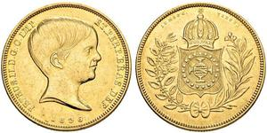 10000 Reis Impero del Brasile (1822-1889) Oro Pietro II del Brasile (1825 - 1891)