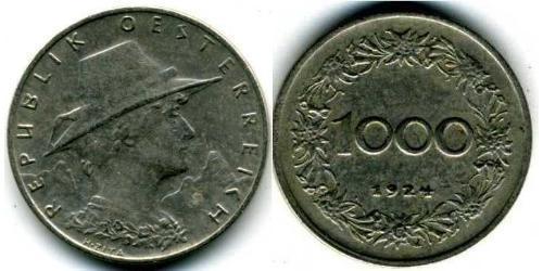 1000 Крона Первая Австрийская Республика (1918-1934) Никель/Медь