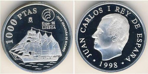 1000 Песета Королівство Іспанія (1976 - ) Срібло Хуан Карлос I (1938 - )