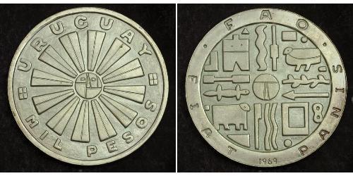 1000 Песо Уругвай Серебро