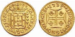 1000 Рейс Королівство Португалія (1139-1910) Золото Жуан V король Португалії (1689-1750)