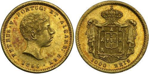 1000 Рейс Королівство Португалія (1139-1910) / Португалія Золото Peter V of Portugal (1837-1861)