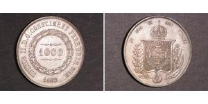 1000 Рейс Бразильская империя (1822-1889) Серебро Педру II (император Бразилии) (1825 - 1891)