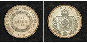 1000 Рейс Бразильська імперія (1822-1889) Срібло Педру II (імператор Бразилії) (1825 - 1891)