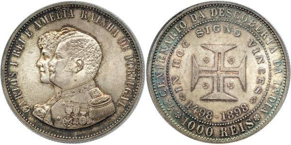 1000 Рейс Королівство Португалія (1139-1910) Срібло Карлуш I король Португалії (1863-1908)
