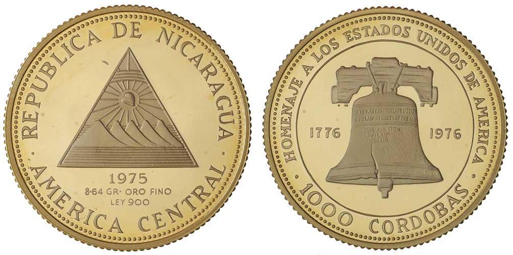 moneda 1000 cordoba nicaragua oro 1975 precio km