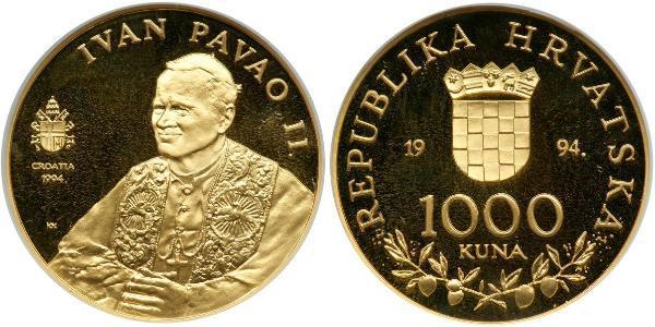 1000 Kuna Croatie Or Pope John Paul II (1920 - 2005)