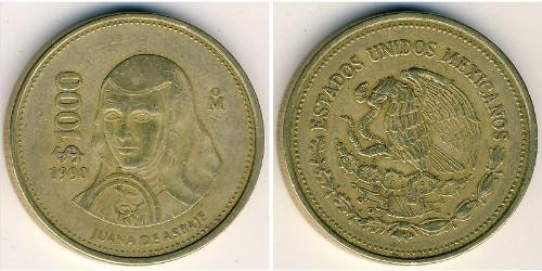 1000 Peso United Mexican States (1867 - ) Brass
