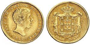 1000 Reis 葡萄牙王國 (1139 - 1910) / 葡萄牙 金 Peter V of Portugal (1837-1861)