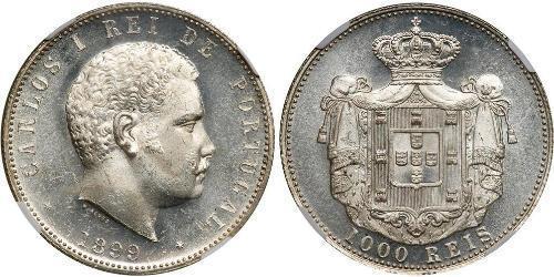 1000 Reis 葡萄牙王國 (1139 - 1910) 銀 卡洛斯一世 (葡萄牙)
