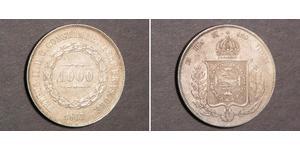 1000 Reis Empire du Brésil (1822-1889) Argent Pierre II du Brésil (1825 - 1891)