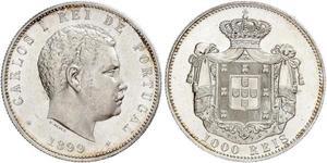 1000 Reis Royaume de Portugal (1139-1910) Argent Charles I de Portugal (1863-1908)