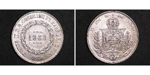 1000 Reis Impero del Brasile (1822-1889) Argento Pietro II del Brasile (1825 - 1891)