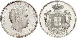 1000 Reis Regno del Portogallo (1139-1910) Argento Carlo I del Portogallo (1863-1908)
