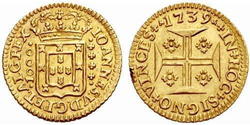 1000 Reis Kingdom of Portugal (1139-1910) Gold John V of Portugal (1689-1750)
