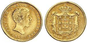 1000 Reis Portugal / Kingdom of Portugal (1139-1910) Gold Peter V of Portugal (1837-1861)