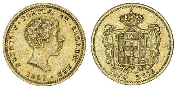 1000 Reis Portugal / Kingdom of Portugal (1139-1910) Gold Peter V of Portugal (1837-1861)