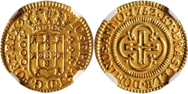 1000 Reis Reino de Portugal (1139-1910) Oro Joseph I of Portugal (1714-1777)