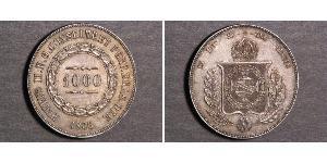 1000 Reis Imperio del Brasil (1822-1889) Plata Pedro II de Brasil (1825 - 1891)