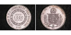 1000 Reis Empire of Brazil (1822-1889) Silber Peter II. (Brasilien) (1825 - 1891)