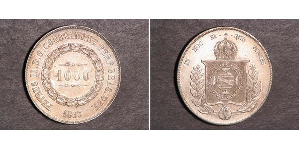1000 Reis Empire of Brazil (1822-1889) Silber Peter II. (Brasilien) (1825 - 1891)