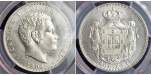 1000 Reis Kingdom of Portugal (1139-1910) Silber  Karl I. von Portugal (1863-1908)