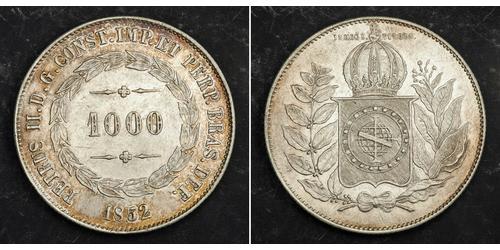1000 Reis Empire of Brazil (1822-1889) Silver Pedro II of Brazil (1825 - 1891)