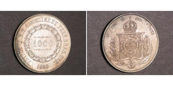1000 Reis Empire of Brazil (1822-1889) Silver Pedro II of Brazil (1825 - 1891)