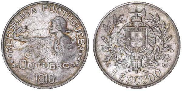 1000 Reis First Portuguese Republic (1910 - 1926) Silver