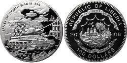 100 Доллар Либерия Серебро