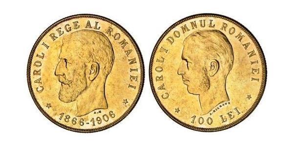 100 Лей Королевство Румыния (1881-1947) Золото Кароль I (1839 - 1914)