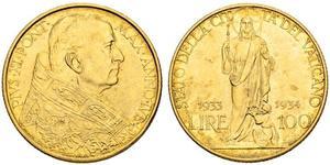 100 Лира Ватикан (1926-) Золото Pope Pius XI (1857 - 1939)