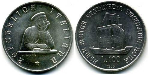 100 Лира Италия Серебро