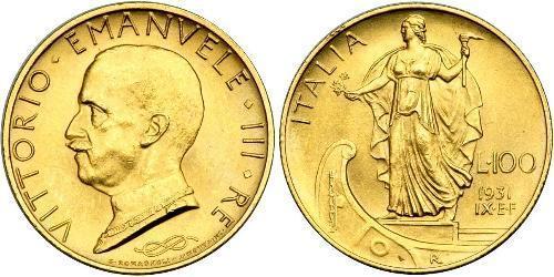 100 Ліра Італія Золото/Платина Виктор Эммануил III (1869 - 1947)