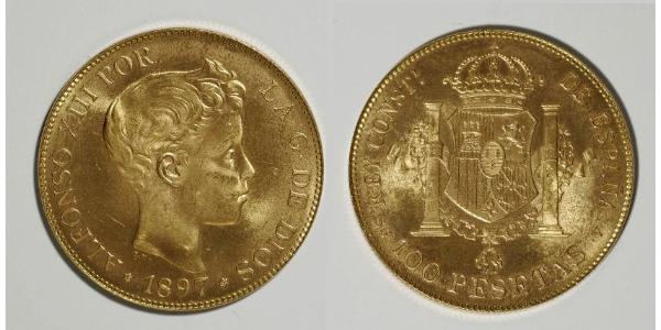 100 Песета Королевство Испания (1874 - 1931) Золото Alfonso XIII of Spain (1886 - 1941)