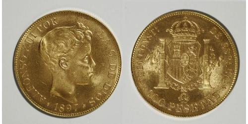 100 Песета Королівство Іспанія (1874 - 1931) Золото Alfonso XIII of Spain (1886 - 1941)