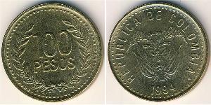 100 Песо Республика Kолумбия Латунь