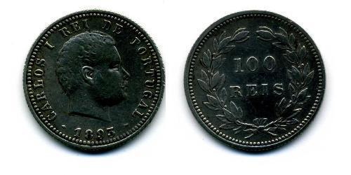 100 Рейс Королевство Португалия (1139-1910) Серебро Карлуш I король Португалии(1863-1908)