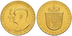100 Франк Лихтенштейн Золото Franz Joseph II, Prince of Liechtenstein (1938 - 1989)