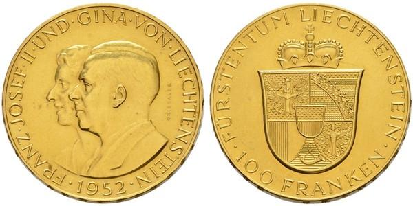 100 Франк Ліхтенштейн Золото Franz Joseph II, Prince of Liechtenstein (1938 - 1989)